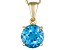2.39ctw 8mm Round Blue Topaz 14kt Yellow Gold Solitaire Cable Link Necklace