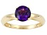 1.20ct Round Uruguayan Amethyst 14k Yellow Gold Solitaire Ring