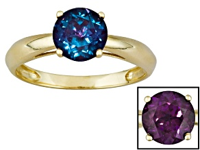 1.62ct 7mm Round Created Alexandrite 14k Yellow Gold Solitaire Ring