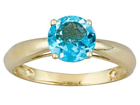 1.62ct 7mm Round Faceted Swiss Blue Topaz 14k Yellow Gold Solitaire Ring