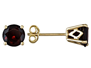 Womens 2.14ctw 6mm Round Red Garnet Solid 14kt Gold Tension Post Stud Earrings