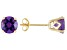 1.54ctw 6mm Round Faceted Purple Amethyst 14k Yellow Gold Stud Earrings