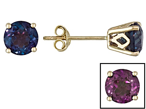 Womens 2 04ctw 6mm Round Blue Alexandrite 14kt Yellow Gold Post Earrings