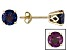 Womens 2.04ctw 6mm Round lab created Blue Alexandrite 14kt Yellow Gold Post Earrings