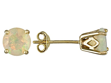 Womens 0 8ctw 6mm Round Opal 14kt Yellow Gold Post3 16 Inch Stud Earrings