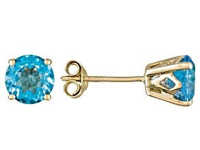 Womens 2.04ctw 6mm Round Blue Topaz 14kt Yellow Gold Stud Post Earrings