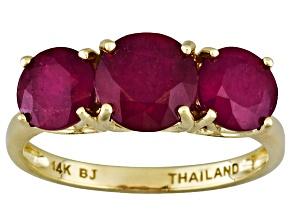 Mahaleo Ruby 14k Yellow Gold 3-Stone Ring 4ctw