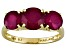 Mahaleo Ruby 14k Yellow Gold 3-Stone Ring 4ctw