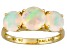 Womens 1.89ctw Round White Opal Solid 14kt Yellow Gold Solitaire Ring