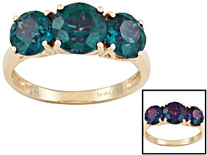 3.66ctw Round Faceted Created Alexandrite 14k Yellow Gold 3-Stone Ring