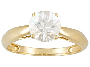 1.60ct 7mm Round Faceted White Zircon 14k Yellow Gold Solitaire Ring