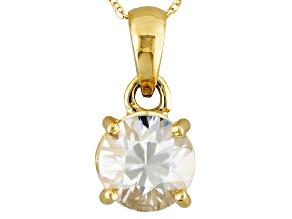 Womens 2.12ctw White Zircon 14kt Gold Solitaire Cable Link Pendant Necklace