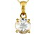 Womens 2.12ctw White Zircon 14kt Gold Solitaire Cable Link Pendant Necklace