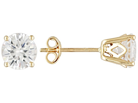 Womens 2 4ctw 6mm Round White Zircon Solid 14kt Gold Post Stud Earrings