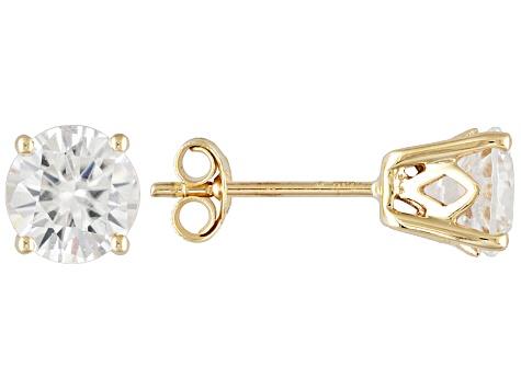 White Zircon Solid 14kt Yellow Gold Post Stud Earrings 2 40ctw