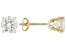 White Zircon Solid 14kt Yellow Gold Post Stud Earrings 2.40ctw