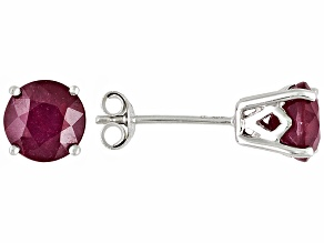 Mahaleo Ruby 14kt White Gold Post3/16 inch Stud Earrings 2.2ctw