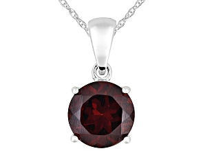 Womens 2.07ctw 8mm Round Red Garnet Solid 14kt White Gold Solitaire Pendant