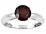 Womens 1.5ctw 7mm Round Red Garnet Solid 14kt White Gold Solitaire Ring