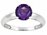Womens 1.2ctw 7mm Round Purple Amethyst Solid 14kt White Gold Solitaire Ring