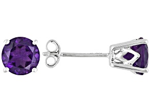 Womens 1.46ctw 6mm Round Amethyst 14kt White Gold Post3/16 inch Stud Earrings