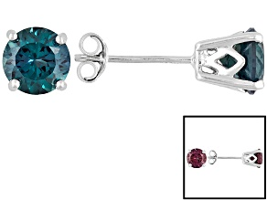2.04ctw 6mm Round Blue Lab Created Alexandrite 14kt White Gold Stud Earrings
