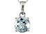 1.75ctw 8mm Round Blue Aquamarine Solid 14kt White Gold Solitaire Pendant