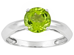 Womens 1.32ctw 7mm Round Green Peridot Solid 14kt White Gold Solitaire Ring