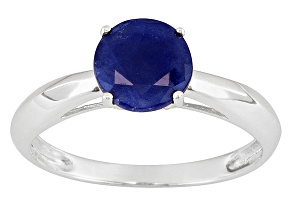 Womens 1.6ctw 7mm Round Blue Sapphire Solid 14kt White Gold Solitaire Ring