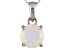 Womens 1.11ctw 8mm Round White Opal Solid 14kt White Gold Solitaire Pendant