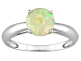 Womens 0.64ctw 7mm Round White Opal Solid 14kt Yellow Gold Solitaire Ring