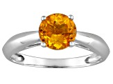 Womens 1.2ctw 7mm Round Yellow Citrine Solid 14kt White Gold Solitaire Ring