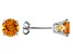 Womens 1.57ctw 6mm Round Yellow Citrine 14kt White Gold Stud Post Earrings