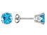 Womens 2.04ctw 6mm Round Blue Topaz Solid 14kt White Gold Post Stud Earrings
