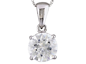 Womens 2.25ctw 7.5mm Round White Zircon 14kt Gold Solitaire Pendant