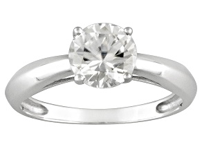 Womens 1.6ctw 7mm Round White Zircon Solid 14kt White Gold Solitaire Ring