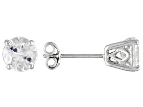 2.4ctw 6mm Round White Zircon 14kt White Gold Stud Post Earrings