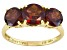 Womens 3.87ctw Round Red Garnet Solid 14kt Yellow Gold 3-Stone Ring
