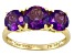 Womens 2.88ctw Round Purple Amethyst Solid 14kt Yellow Gold 3-Stone Ring