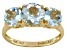 Womens 2.61ctw Round Blue Aquamarine Solid 14kt Yellow Gold 3-Stone Ring