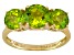 Womens 3.46ctw Round Green Peridot Solid 14kt Yellow Gold 3-Stone Ring