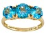 Womens 3.84ctw Round Blue Topaz Solid 14kt Yellow Gold 3-Stone Ring