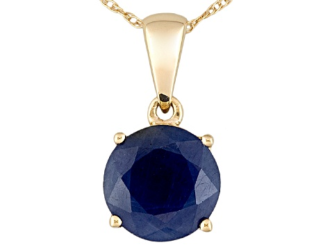 Womens 2.25ctw 8mm Round Blue Sapphire Solid 14kt Gold Solitaire Pendant