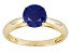 Womens 1.6ctw 6mm Round Blue Sapphire Solid 14kt Yellow Gold Solitaire Ring