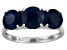 Womens 3-Stone Ring Blue Sapphire 3.78ctw 14k White Gold