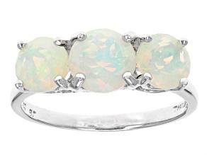 Womens 3-Stone Ring Ethiopian White Opal 1.85ctw Round 14k White Gold