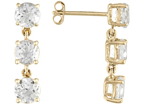 3.66ctw Round White Topaz 14k Yellow Gold 3-Stone Dangle Earrings