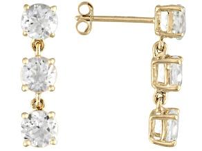 3.66ctw Round White Topaz 14k Yellow Gold 3-Stone Dangle Earrings