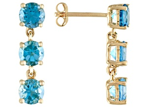 3.66ctw Round Swiss Blue Topaz 14k Yellow Gold Dangle Earrings