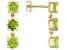 3.36ctw Round Manchurian Peridot™ 14k Yellow Gold 3-Stone Dangle Earrings